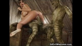 3D Busty Girl Wrecked by Aliens!