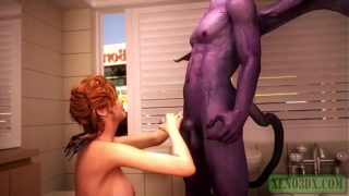 3D Monster Sex. Red head hottie fucked by Horny Satan & his slutty Demonic Wife.
