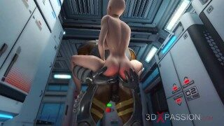 Alien sex at the Mars base camp! A horny woman gets the anal fucking